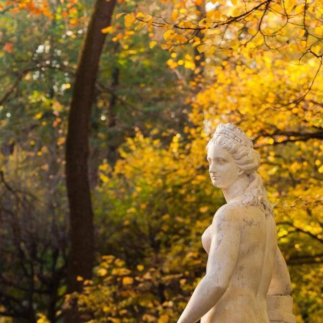 Kesäpuisto Pietarissa on kaunis vierailukohde.
